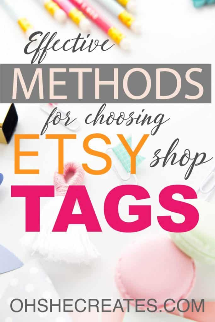 pastel desk items on white desk with Methods for choosing etsy shop tags