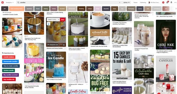 image of pins on pinterest showing search terms