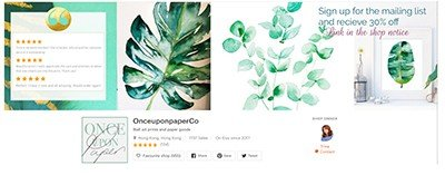 etsy banner image with watercolor prints and logs