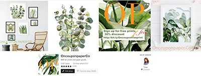 etsy banner image with prints of leaves and logs