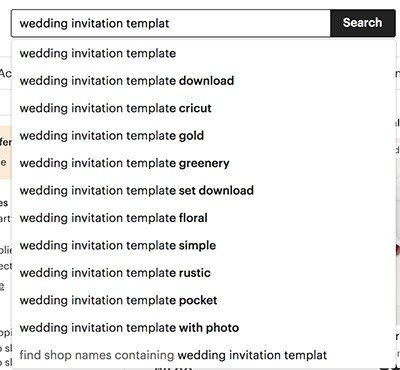 image of menu in etsy showing wedding invitation and previews menu links