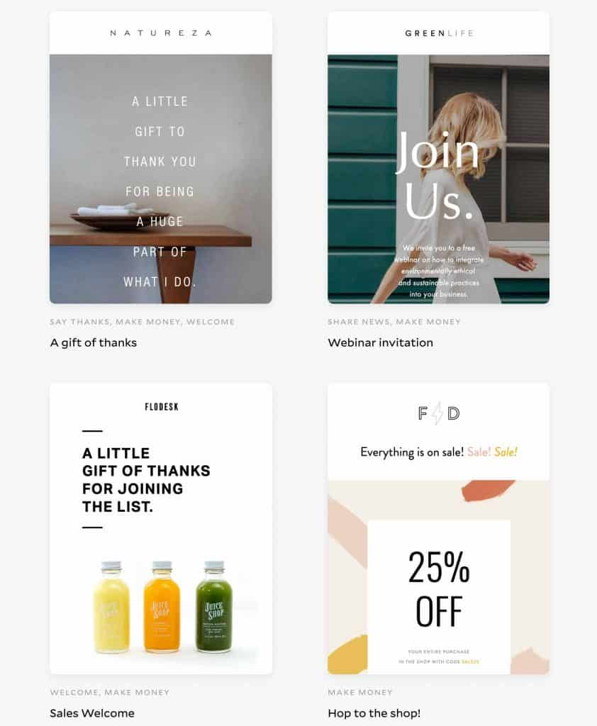 Newsletter template free examples in Flodesk