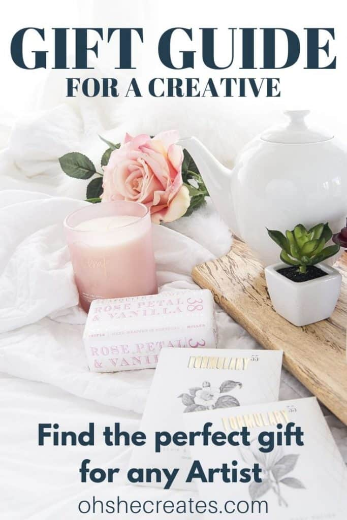 gift guide for creative artist text with gifts on bed