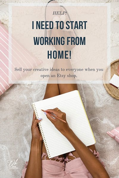 Women sat on carpet with notebook with the text - I need to start working from home.