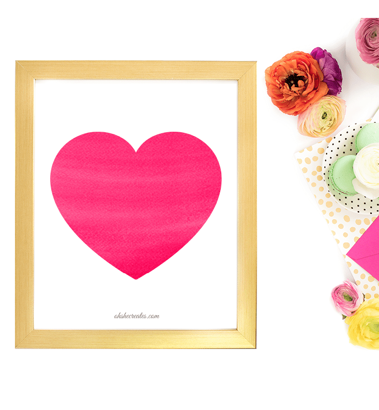 Pink heart in frame with flowers