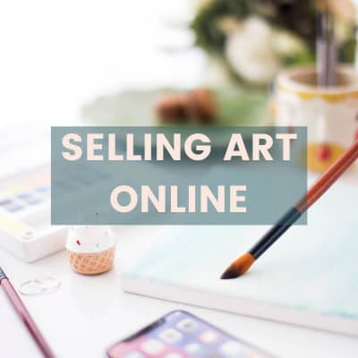 SELLING ART ONLINE TEXT WITH WATERCOLOR PAINTING