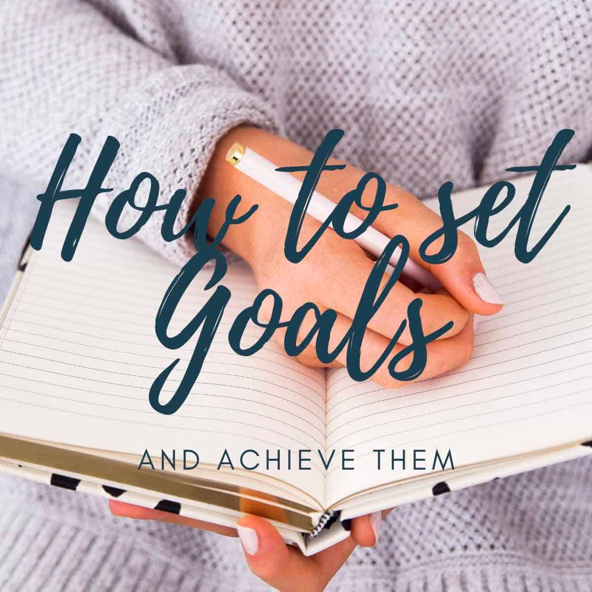 How to set goals text with book background
