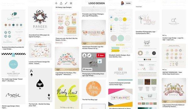 image screen shot showing pinterest board of logo designs