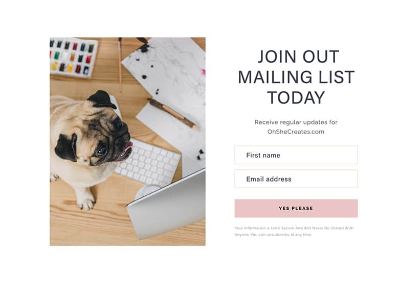 landing page with dog join our mailing list
