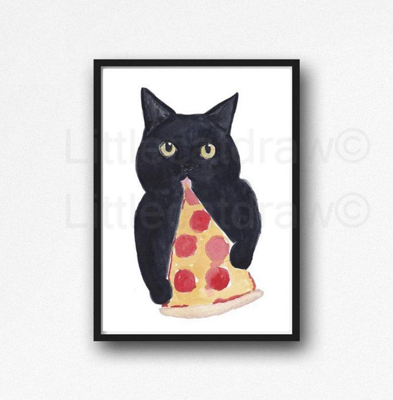 image of black cat eating pizza print