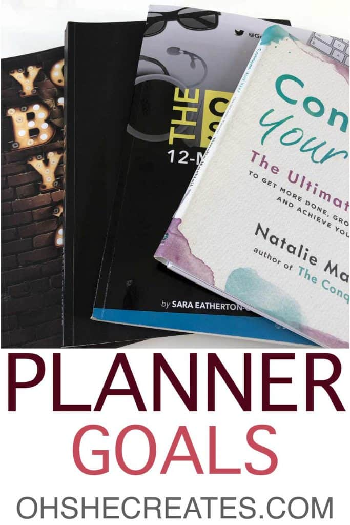 image of goals setting planners with text planner goals
