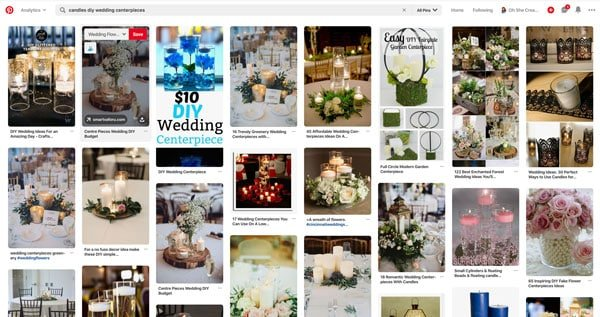 image showing pins on pinterest of candles